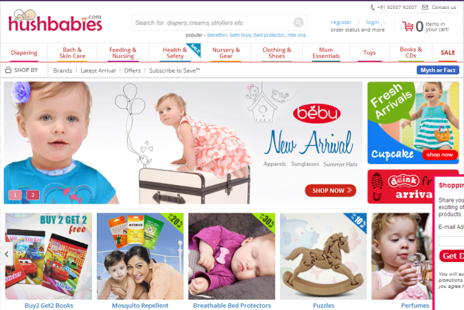 Screen grab taken from www.hushbabies.com on 22/09/13